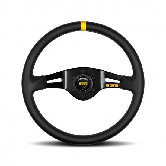MOMO MOD.03 Steering Wheel - Leather, Black Spoke