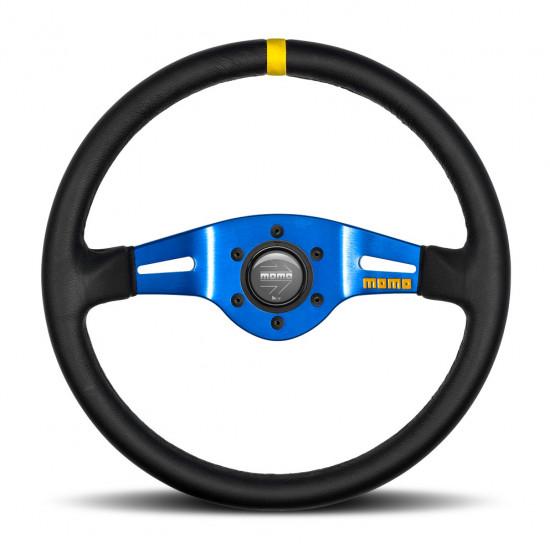 MOMO MOD.03 Steering Wheel - Leather, Blue Spoke