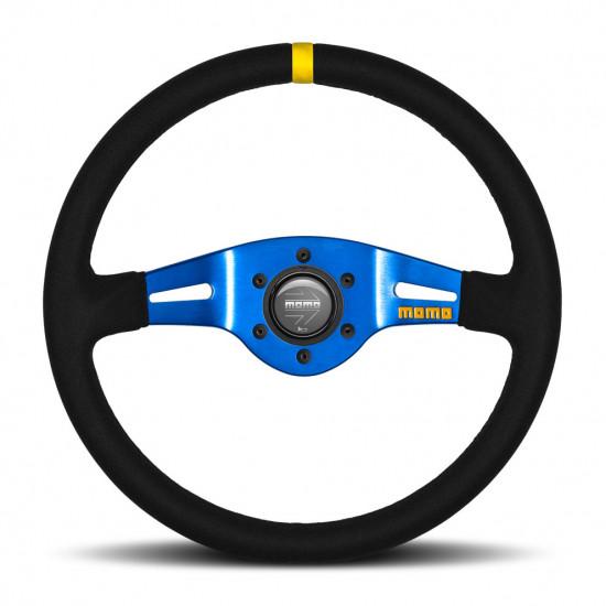 MOMO MOD.03 Steering Wheel - Suede, Blue Spoke