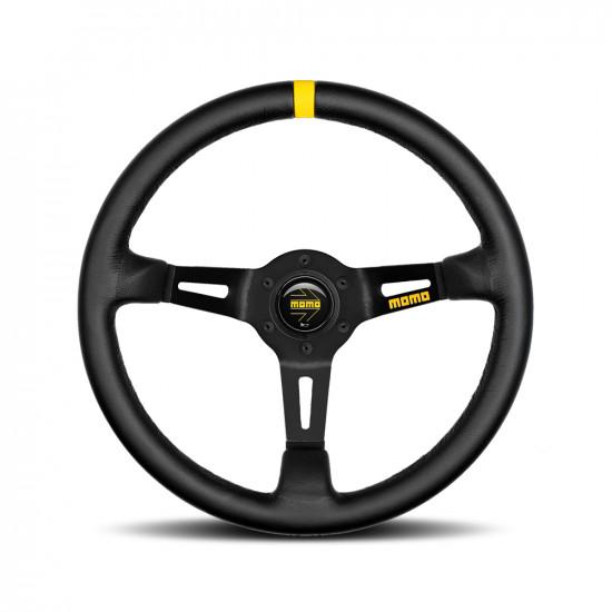MOMO MOD.08 Steering Wheel - Leather, Black Spoke