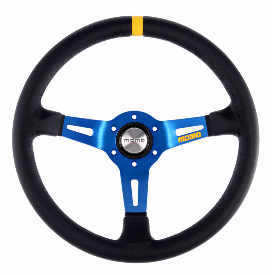 MOMO MOD.08 Steering Wheel - Leather, Blue Spoke