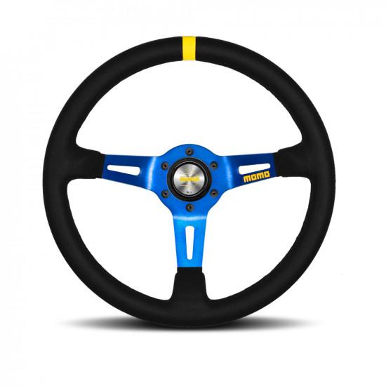 MOMO MOD.08 Steering Wheel - Suede, Blue Spoke