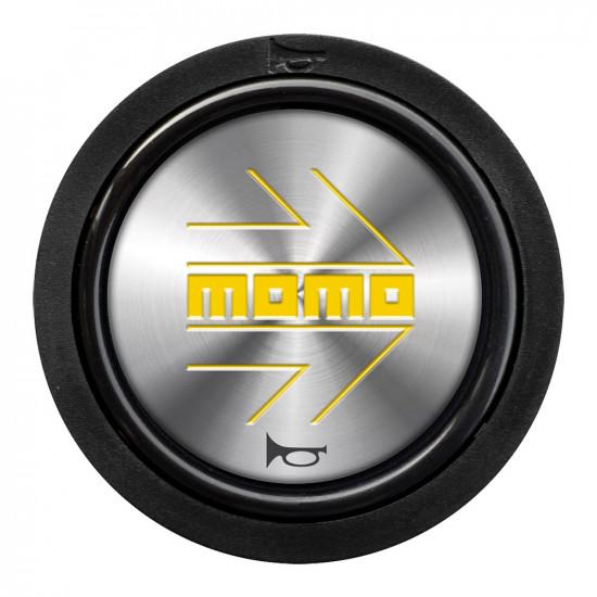 MOMO Horn Button 2 Contact - Yellow Arrow Chrome