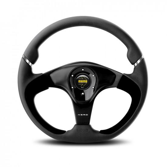 MOMO Nero Steering Wheel - Black Leather