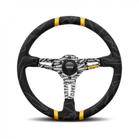 MOMO Ultra Black Steering Wheel - Yellow Insert
