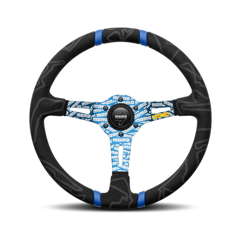 MOMO Ultra Black Steering Wheel - Blue Insert