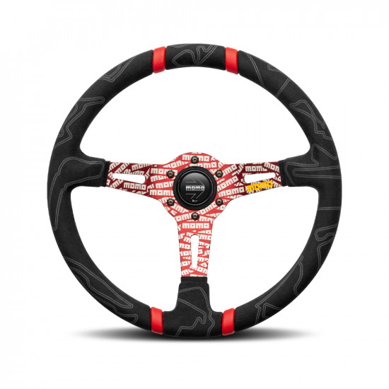 MOMO Ultra Black Steering Wheel - Red Insert